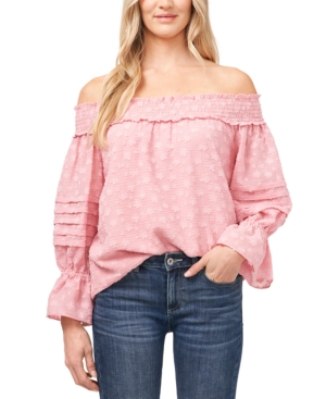 Cece Floral-print Off-the-shoulder Top In Mountain Rose