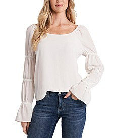 Square-Neck Tiered Puff-Sleeve Top