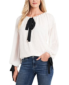 Floral-Embroidered Tie-Neck Top