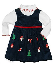 Little Girls Holiday Embroideries and Appliques Top and Jumper Set, 2 Piece