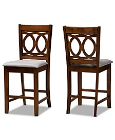 Lenoir Modern and Contemporary Fabric Upholstered 2 Piece Counter Height Pub Chair Set