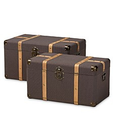 Stephen Modern and Contemporary Transitional Fabric Upholstered 2 Piece Storage Trunk Set
