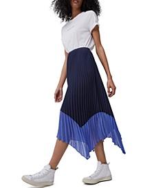 Ali Pleated Handkerchief-Hem Skirt