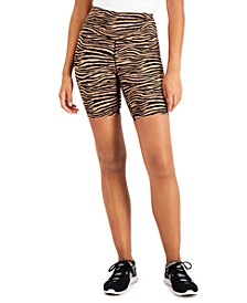 INC Tiger-Print Compression Bike Shorts, Created for Macy's