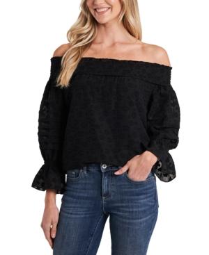Cece Floral-print Off-the-shoulder Top In Rich Black