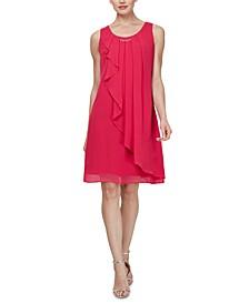 Sleeveless Chiffon Jewel-Neck Sheath Dress