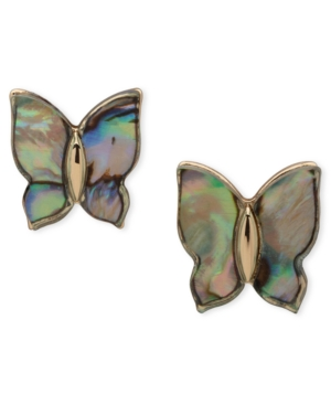 Gold-Tone Mother-of-Pearl Butterfly Stud Earrings