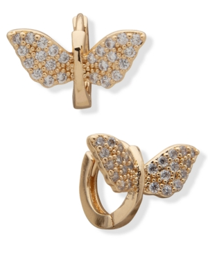 Gold-Tone Small Pave Butterfly Hoop Earrings