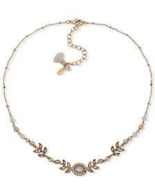 """Gold-Tone Crystal & Stone Flower Statement Necklace, 16"""" + 3"""" extender"""