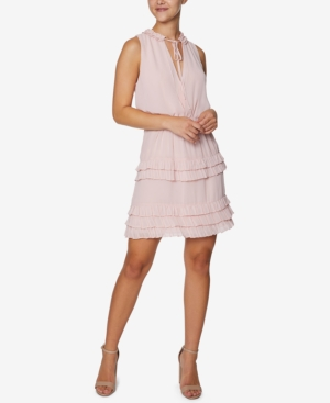Ruffled Tie-Neck Shift Dress