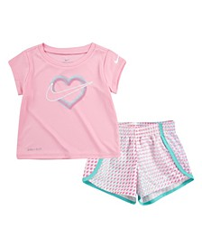 Baby Girls 2-Piece Match Back Top and Pixel Short Set