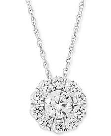 """Lab Grown Diamond Halo 18"""" Pendant Necklace (1 ct. t.w.) in 14k White Gold"""