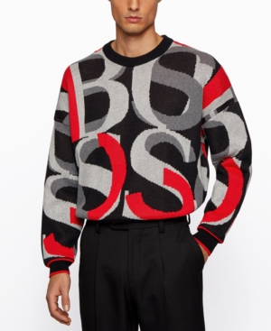 Hugo Boss Cottons BOSS MEN'S JACQUARD LOGOS SWEATER