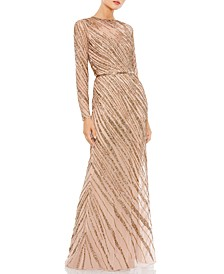 Embellished Mesh Gown