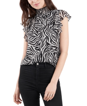 1.state Tops FLUTTER-SLEEVE ANIMAL PRINTED BLOUSE