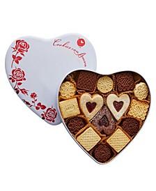 Assorted Gourmet Italian Cookies White Heart Tin