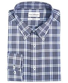 Men's Slim-Fit Moisture-Wicking Plaid Dress Shirt