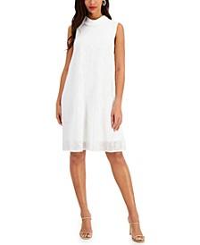Roll-Collar Textured Dress