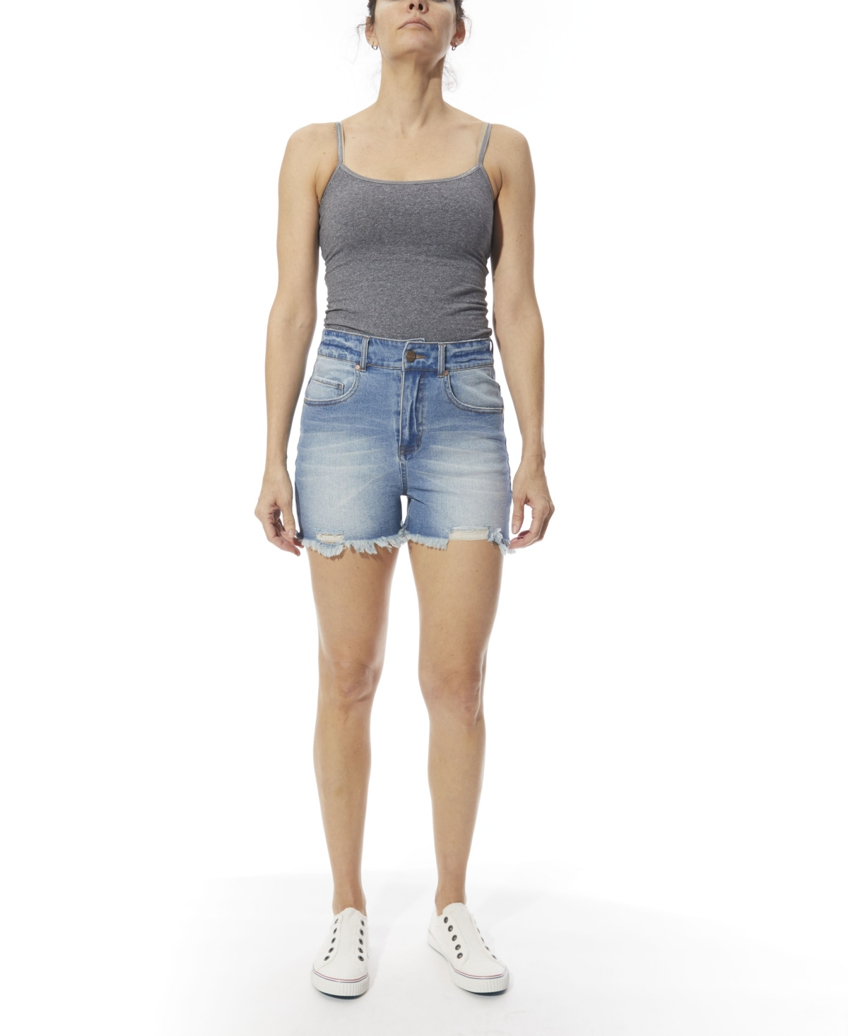 Women's Frayed Abrasions Denim Shorts