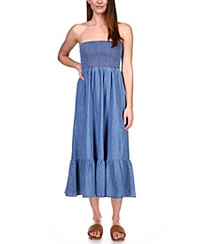 Cotton Smocked Ruffled Chambray Dress