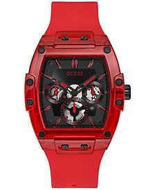 Men's Red Silicone Strap Watch 43mm