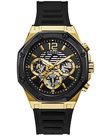 Men's Black Silicone Strap Watch 44mm