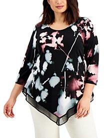 Plus Size Printed Sheer-Hem Top, Created for Macy's