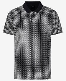 Short Sleeve All-Over Logo Contrast Collar Polo