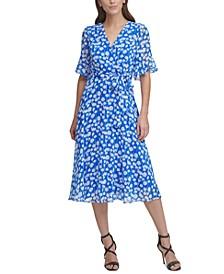 Short-Sleeve Ruffle Midi Dress