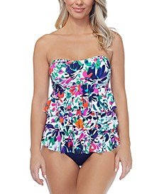 Sunny Days Printed Tiered Tankini Top & High-Waist Tummy-Control Bikini Bottoms, Created for Macy's