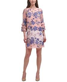 Printed-Chiffon Pleated-Sleeve Dress