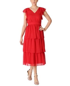 Flutter-Sleeve Chiffon Midi Dress