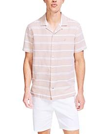 Men's Classic-Fit Textured Stripe Linen Camp Shirt