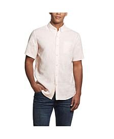 Men's Solid Short Sleeves Linen Shirt