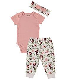 Baby Girls 3-Piece Short Sleeve Bodysuit Pants Set
