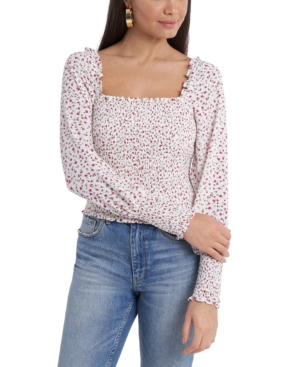 1.state SMOCKED SQUARE-NECK BLOUSE