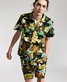 Men's Floral Camo-Print Camp Shirt, Fleece Shorts & Slip-On Sandals, Created for Macy's