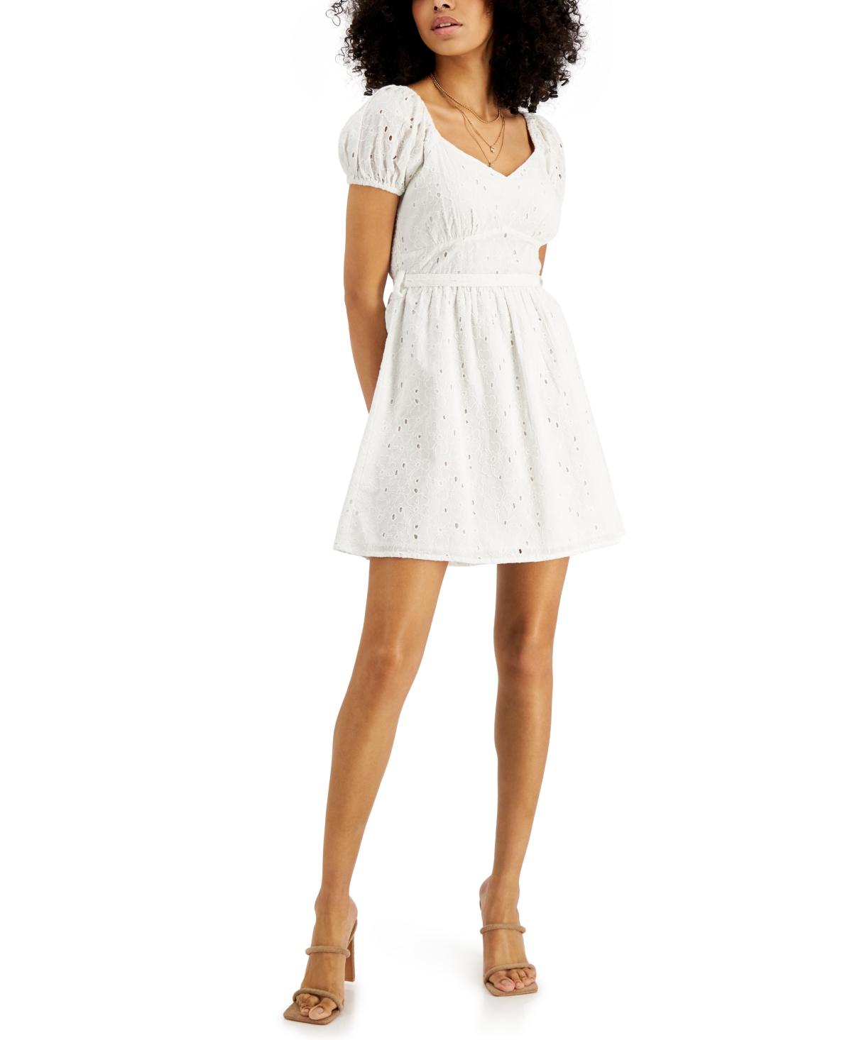 Eyelet Tie-Back Cotton Dress
