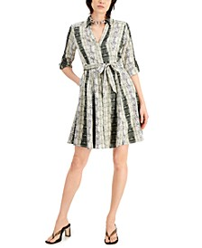 INC Petite Printed Belted Shirtdress, Created for Macy's