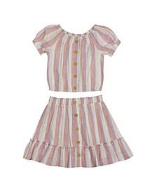 Big Girls Stripe Skirt Set, 2 Piece