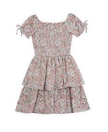 Big Girls Printed Linen Smocked Dress