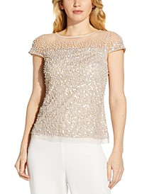 Short-Sleeve Sequined Blouse