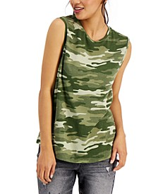 Cotton Camo-Print Muscle Tank Top, Created for Macy's