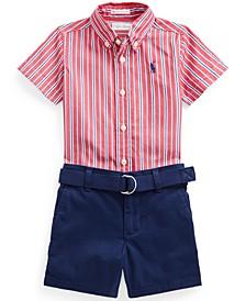Baby Boys Shirt, Belt & Shorts Set