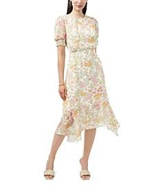 Petite Puff Sleeve Verona Gardens Asymmetric Hem Dress