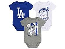 Newborn 3-Pk. Los Angeles Dodgers Change-Up Bodysuits