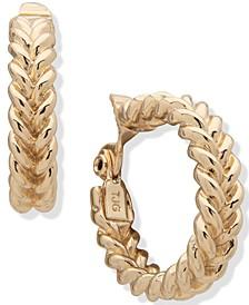 """Gold-Tone Medium Braided Clip-On Hoop Earrings, 1.1"""""""