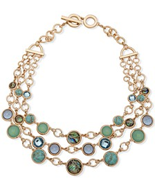 """Gold-Tone Circle, Stone & Abalone Layered Statement Necklace, 17"""" + 1"""" extender"""