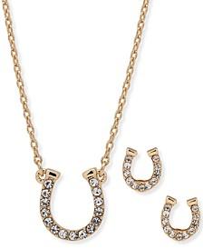 Gold-Tone Pavé Horseshoe Pendant Necklace & Stud Earrings Set