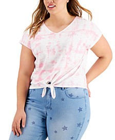 Petite Tie-Front V-Neck T-Shirt, Created for Macy's